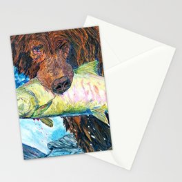 'Ol' Gus' - Grizzly Bear - Trout Fishing - Original Mountain Nature Drawing - by Bryn Reynolds Stationery Cards