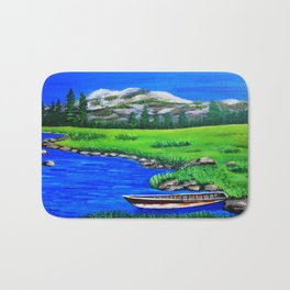 River bank with little old boat Bath Mat