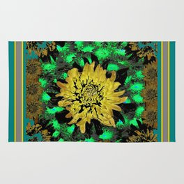 Abstracted Teal-Green Yellow Chrysanthemums Floral Rug