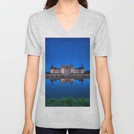 The castle of Chambord at night Unisex V-Neck