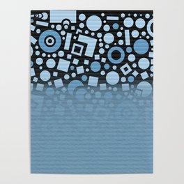 Blue Black Fade Pattern Poster