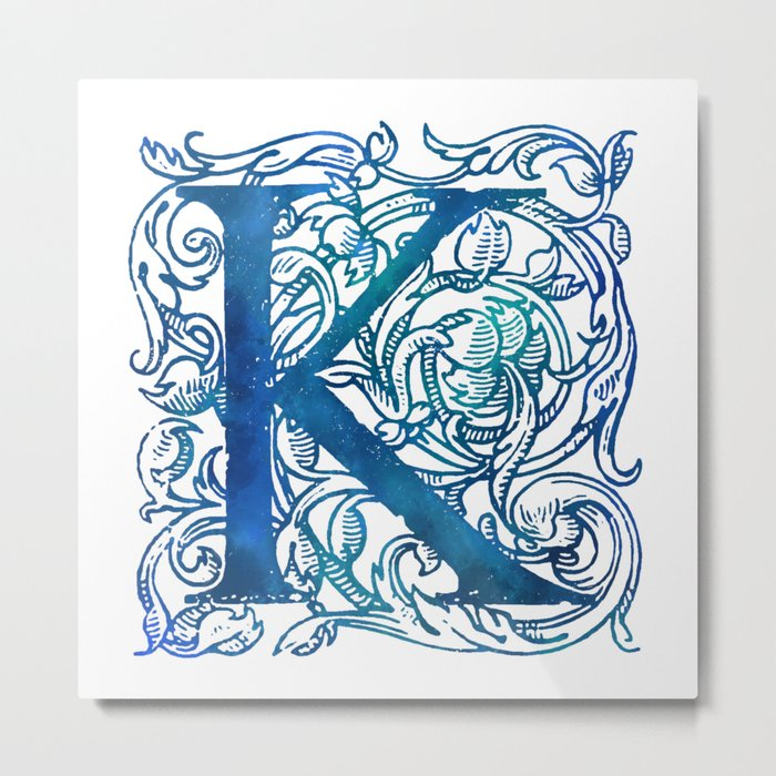 Letter K Antique Floral Letterpress Metal Print