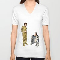 c3po V-neck T-shirts featuring C3PO & R2D2 by joshuahillustration