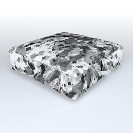 distorted squares, b&w Outdoor Floor Cushion
