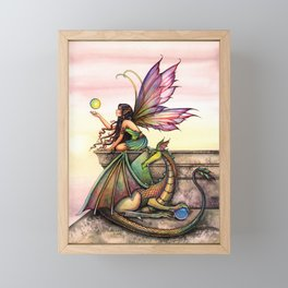 Dragon's Orbs Fairy and Dragon Fantasy Art Illustration by Molly Harrison Framed Mini Art Print