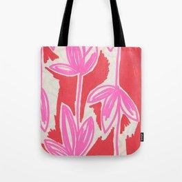 Red and Pink Sketchbook Botanical Tote Bag