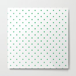 Small Green Polka Dots Metal Print