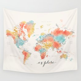 """""""Explore"""" - Colorful watercolor world map with cities Wall Tapestry"""