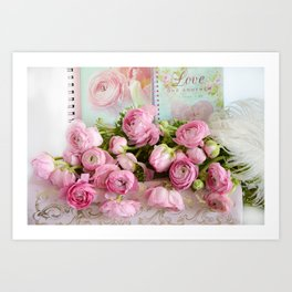 Shabby Chic Cottage Pink Floral Ranunculus Peonies Roses Print Home Decor Art Print