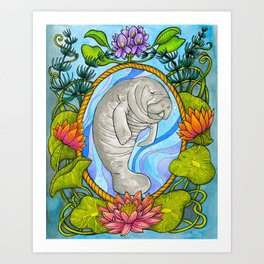 Manatee and Water Lilies Art Print