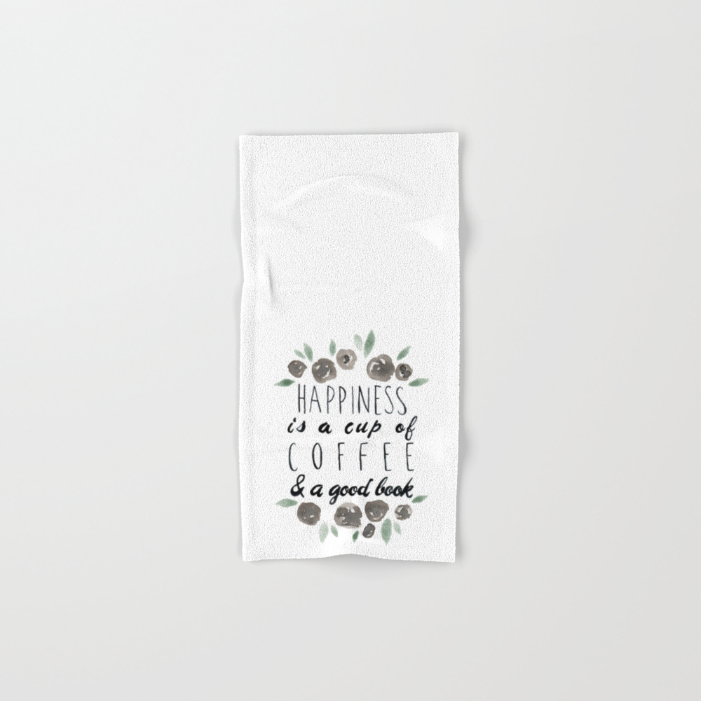 Happiness Is A Cup Of Coffee And A Good Book Hand Towel by Lindseythurberstudio BTL8077577