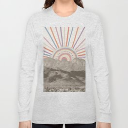 Bohemian Tribal Sun / Abstract Vintage Mountain Happy Summer Vibes Retro Colorful Pastel Sky Artwork Long Sleeve T-shirt