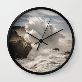 Crashing Waves Explode off the Rocky Cape Arago Oregon Coastline Wall Clock