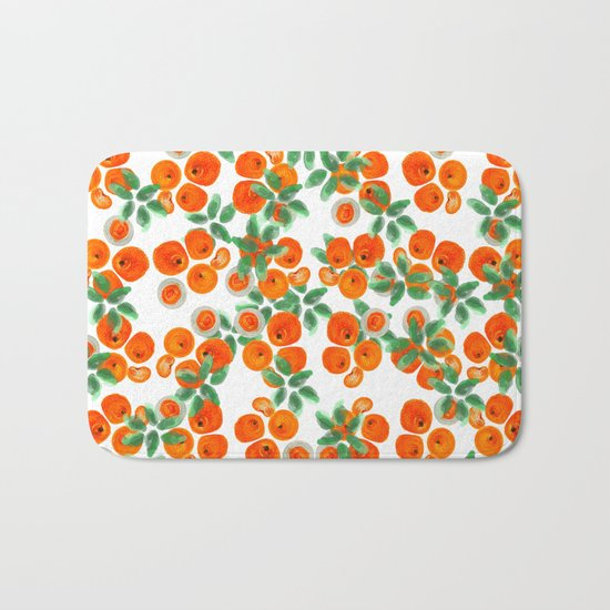 Fresh Orange Juice Pattern Bath Mat