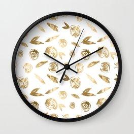 Gold Roses Rosette Pattern Golden on White Wall Clock