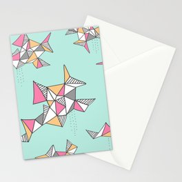 Geometric Design, Teal and Pink Triangles Stationery Cards