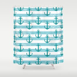 AFE Nautical Anchor Pattern Shower Curtain