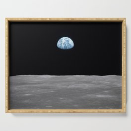 Earth rise over the Moon Serving Tray