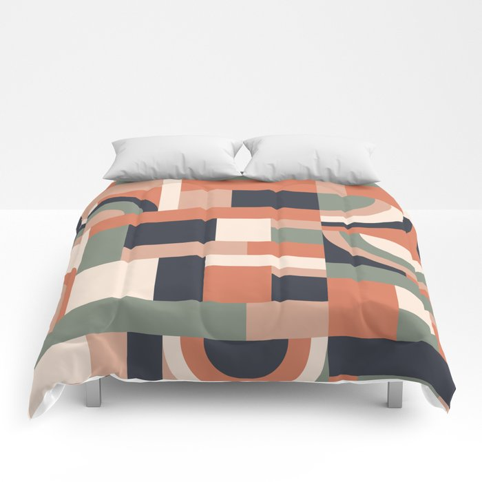 Earth Tones Blocks #society6 #pattern Comforters