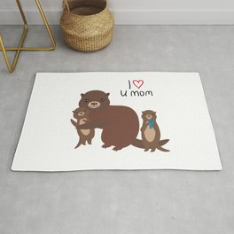 I Love You Mom. Funny brown kids otters with fish on white background. Gift card for Mothers Day. Rug
