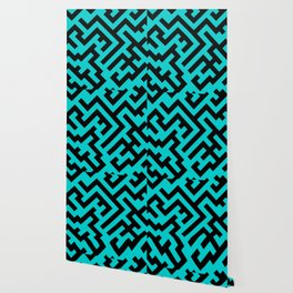 Black and Cyan Diagonal Labyrinth Wallpaper