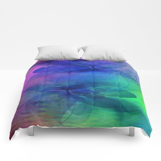 Rainbow Ripples and Ribbons Abstract Comforters