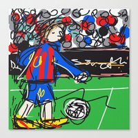 messi Canvas Prints featuring Messi by Rimadi