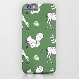 Wildlife - Happy Forest Animals Green iPhone Case