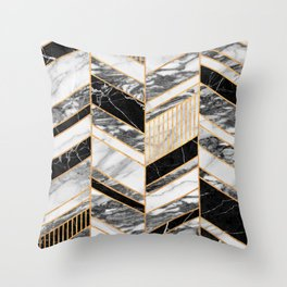 Abstract Chevron Pattern - Black and White Marble Throw Pillow