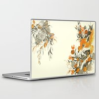 sister Laptop & iPad Skins featuring fox in foliage by Teagan White