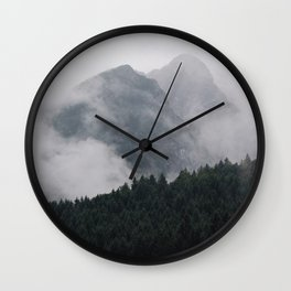 Minimalist Modern Photography Landscape Pine Forest Jagged High Grey Mountains Wall Clock