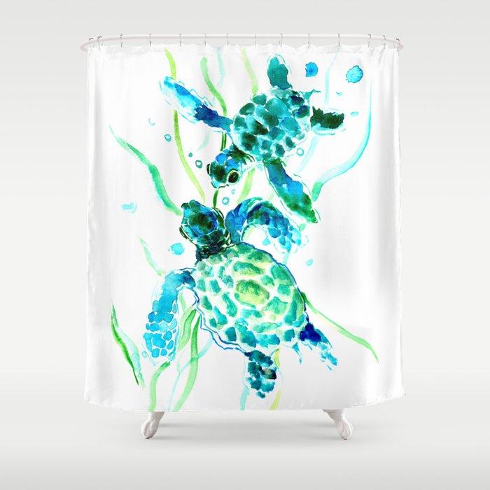 Sea Turtles, Turquoise blue Design Shower Curtain