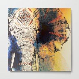 Watercolor elephant & mandala art Metal Print
