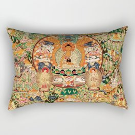 Life Of Buddha Thangka Mandarin Forest Rectangular Pillow