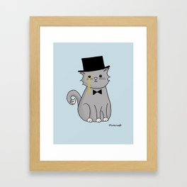 Monocle Kitty Illustration in Blue Framed Art Print