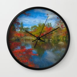 Fall Colors In A Japanese Garden Wall Clock