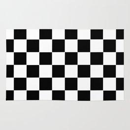 checker cross squares black white rug - Black And White Rugs