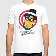 Abe, Captain of America White MEDIUM Mens Fitted Tee
