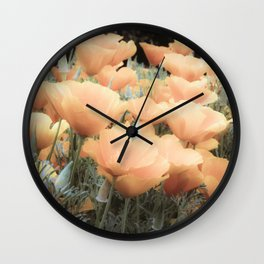 Peachy Poppies Wall Clock