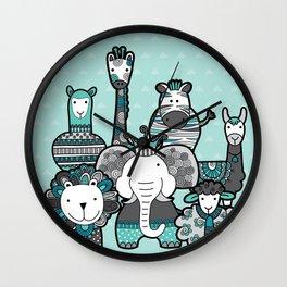 Doodle Animal Friends Aqua & Grey Wall Clock