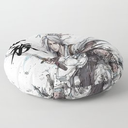 Samurai Girl with Japanese Calligraphy - Family - Ciri Parody Floor Pillow