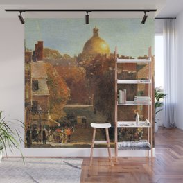 Classical Masterpiece 'Mount Vernon Street, Boston' by Frederick Childe Hassam Wall Mural