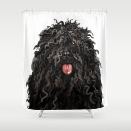 Black Puli Dog Shower Curtain