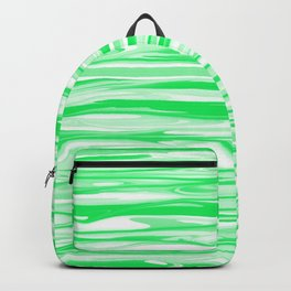 Apple Green and White Stripes Abstract Backpack