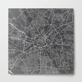 Manchester Map, England - Gray Metal Print