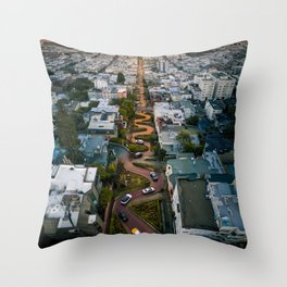 Sunrise at Lombard Street Throw Pillow