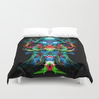avatar Duvet Covers featuring Neon Owl Avatar by Spires