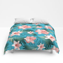 Tropical Flowers Palm Leaves Finesse #8 #tropical #decor #art #society6 Comforters