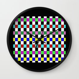 Retro 3 - Abstract, multicoloured, bold, chekkered, checkered pattern Wall Clock