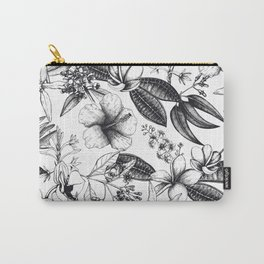 Black and White Vintage Tropical Flowers Pattern Carry-All Pouch